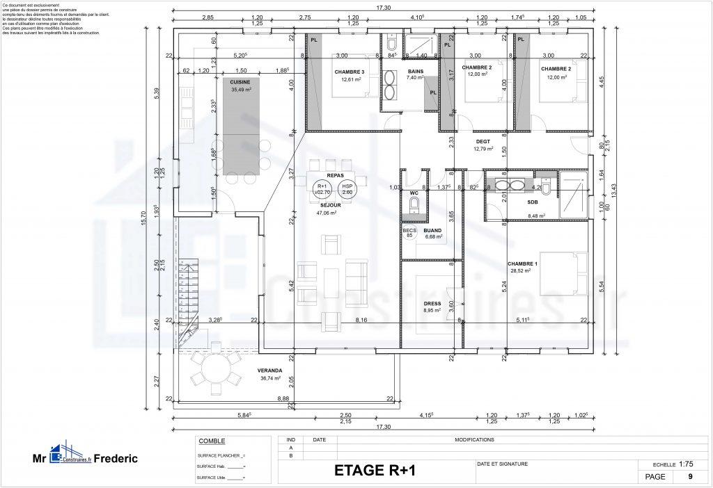 plan interieur villa martinique