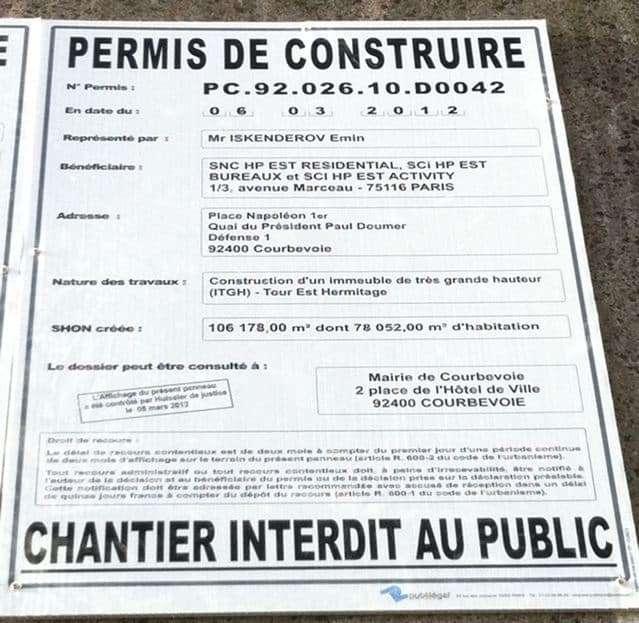 un permis de construire d'une surface de plancher